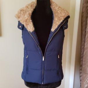 Navy blue fur trimmed vest